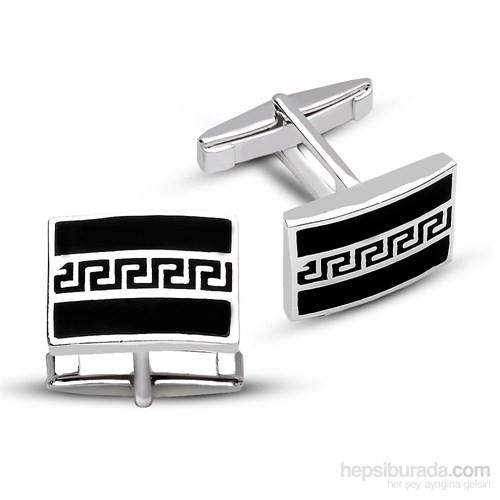 Tesbihane 925 Ayar Gümüş Oniks Üzerine Labirent Tasarım Kol Düğmesi
