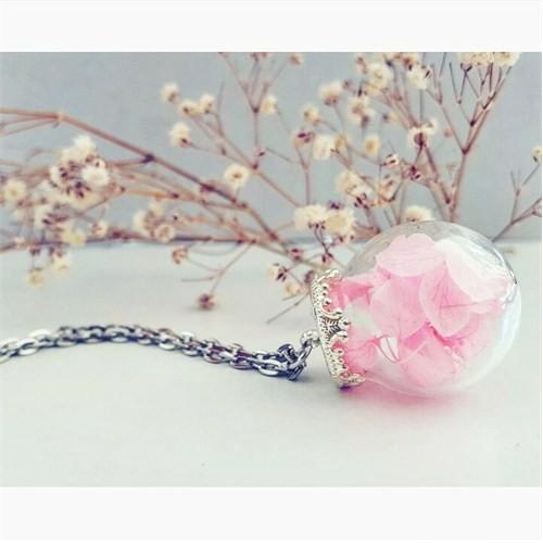 Güven Altın Yaşayan Kolyeler Kristal Cam Kurutulmuş Çiçekler Yk136