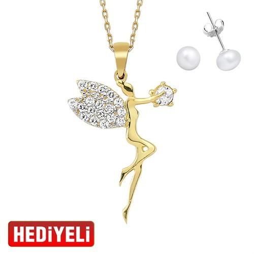 AltınSepeti Su Perisi Altın Kolye AS8KL04 - Küpe Hediyeli!