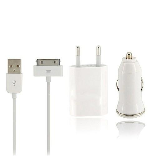 Case 4U Apple iPhone 4/4S/3G/3GS 3in1 Ev ve Araç Şarjı + Data Kablosu