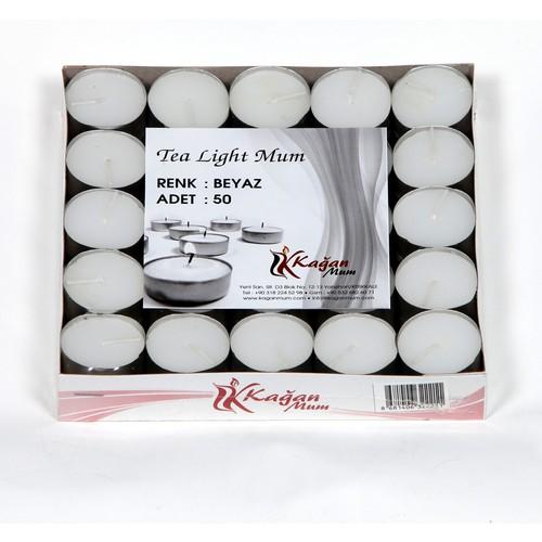 Tealight 50'Li Paket Beyaz Renk Kokusuz