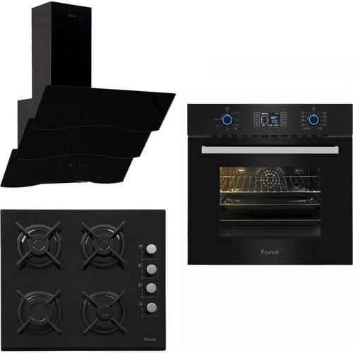 Ferre The Black Magician Plus 3'Lü Ankastre Set (10004 Dijital Turbo Ankastre Fırın + S 1140-CE 4 Gözü Gazlı Siyah Cam Ankastre Ocak + S SPR-600 Dekoratif Siyah Cam Davlumbaz)