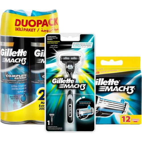 Gillette Mach3 Tıraş Paketi (Tıraş Makinesi + 12'li Bıçak + 2'li Jel)