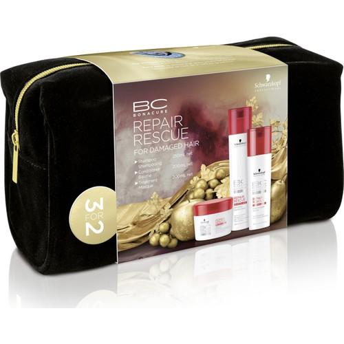 Bonacure Acil kurtarma Çanta Hediyeli 3 lü Set ( Şampuan 250 ml + Saç Kremi 200 ml + Saç Maskesi 200 Ml