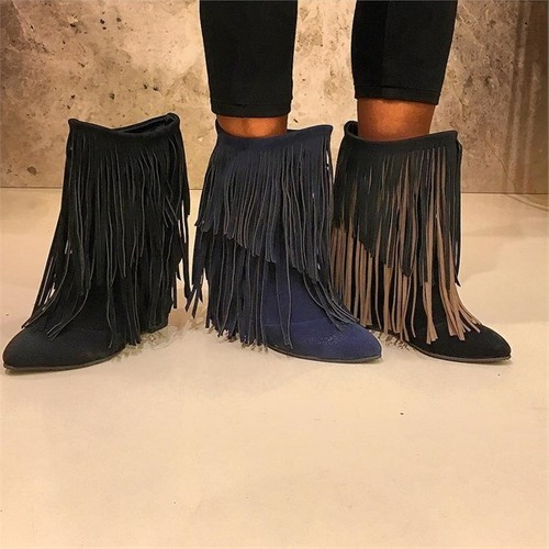 Shop and Shoes 155-96428 Lacivert Süet Bayan Bot