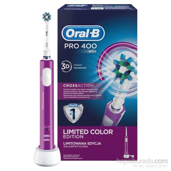 Oral-B Pro 400 Şarj Edilebilir Diş Fırçası Cross Action Mor (Özel Renk Serisi)