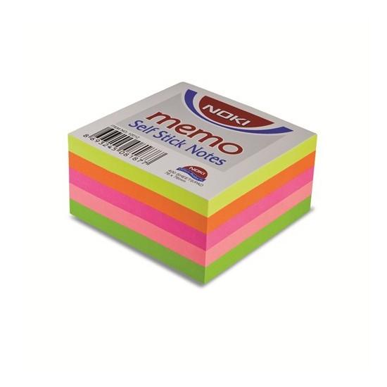 Noki Memo 75 x 75mm Neon Küp Yapışkanlı Not Kağıdı 400 Yaprak