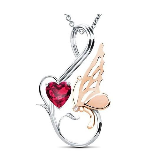 Jessini Kalp Kelebeğim Pırlantalı Kolye