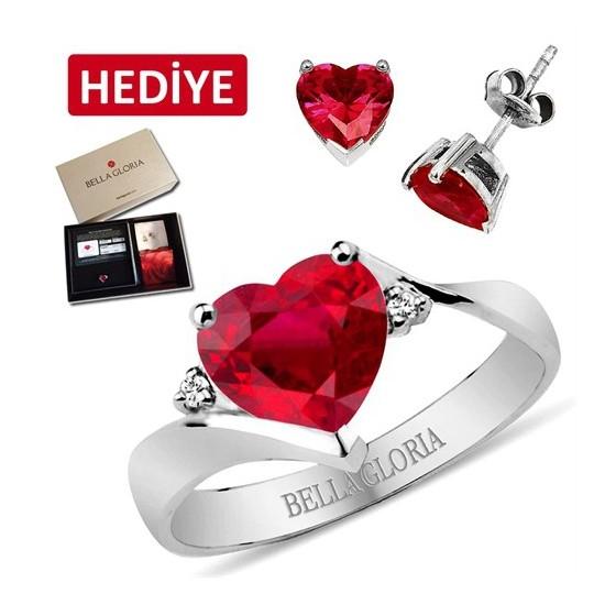 Bella Gloria Altın Kaplamalı Pırlanta Kırmızı Kuartz Aşk Yüzüğü