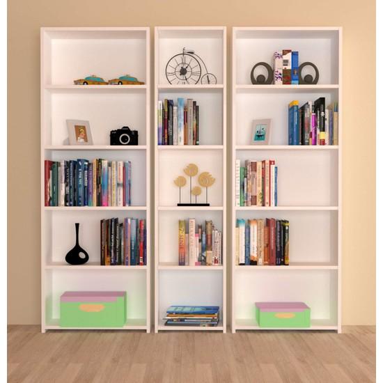 Nur Mobilya 3'lü Arkalıklı Kitaplık Beyaz