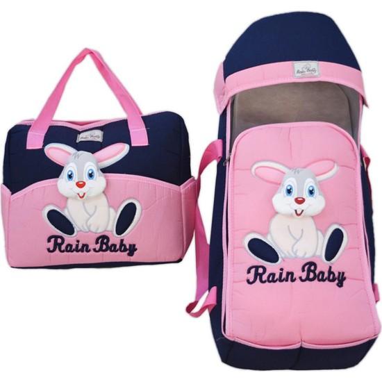 Dilebebe Mobil Peluş Tavşanlı 2'li Çanta Kundak Seti