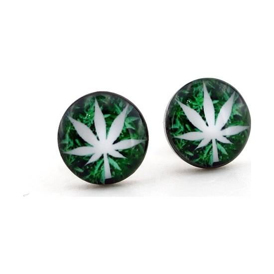 Solfera Yeşil Beyaz Cannabis Yaprak Unisex Çelik Erkek Küpe E461