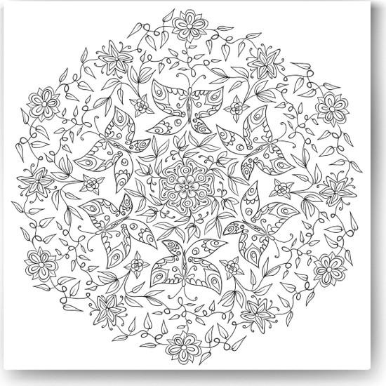 Evdeka Kelebek-4 Desenli Mandala Kanvas Tablo