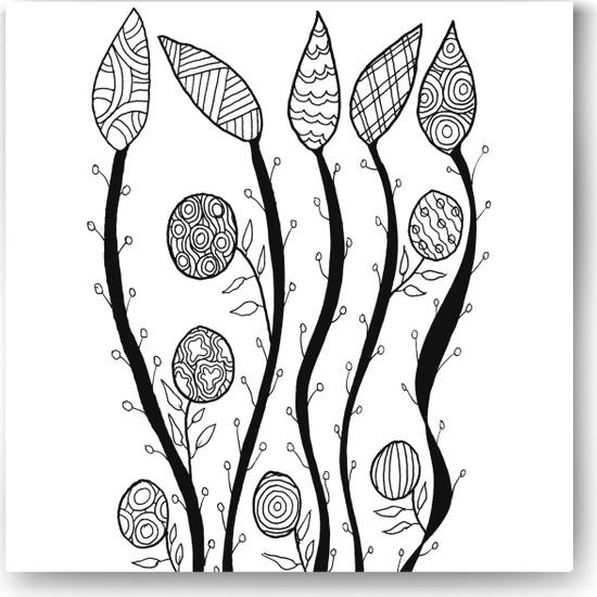 Evdeka Yaprak-2 Desenli Mandala Kanvas Tablo