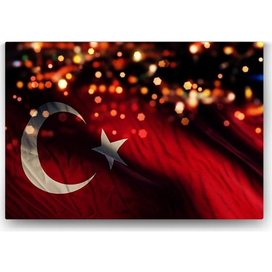 Evdeka Işıltılı Türk Bayrağı Temalı Kanvas Tablo
