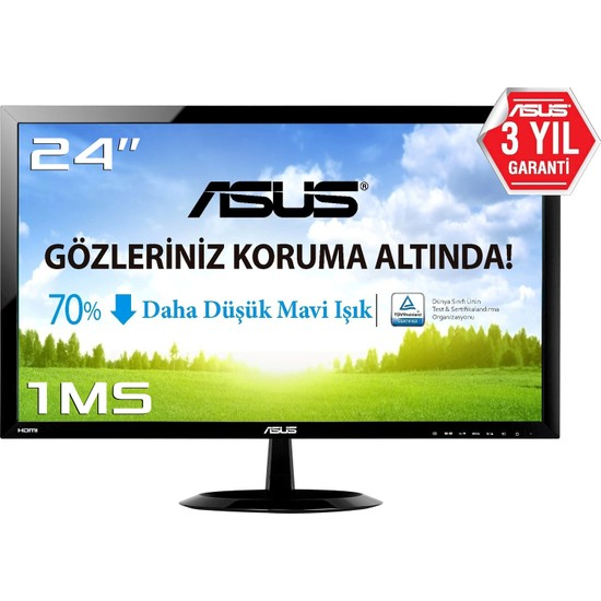 "Asus VX248H 24"" 1ms (Analog+DVI+2xHDMI) Full HD Led Monitör"
