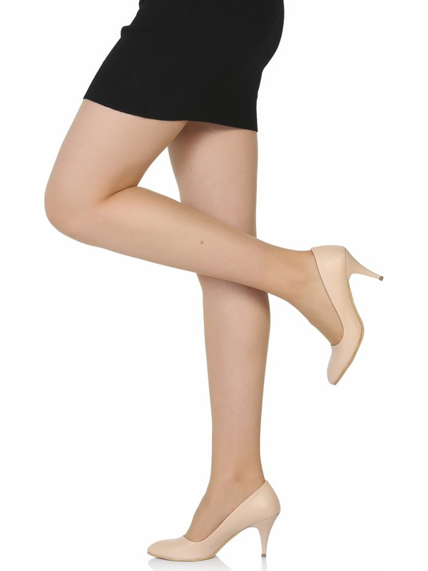 Sothe Ba-1017 Kadın Ten Deri Kısa Topuklu Stiletto