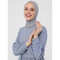Refka Doğal Kumaşlı Çizgili Elbise - Mavi - Refka Casual