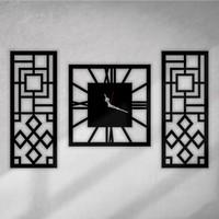 Walldeco Dekoratif Ahşap Mdf 3'lü Duvar Saati Seti