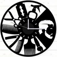 Walldeco Dekoratif Duvar Saati Mat Siyah Ahşap Mdf 40 x 40CM Erkek Kuaför Berber Tasarım