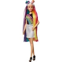 Barbie Gökkuşağı Renkli Saçlar Bebeği, Ekstra Uzun Saçlara ve Saç Aksesuarlarına Sahip FXN96