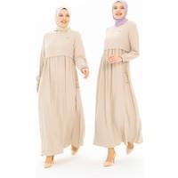 Beyza Bolero Detaylı Bej Tesettür Elbise 5227
