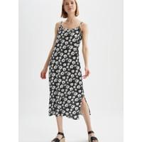 DeFacto Askılı Desenli Dokuma Elbise