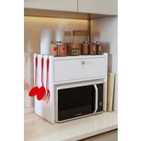 Bayz Tezgah Üstü Kapaklı Mikrodalga Fırın Raf Ekmek Dolabı - Beyaz