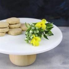 Akayev Mermer 28 cm Ahşap Ayaklı Beyaz Yuvarlak Sunum Tabağı