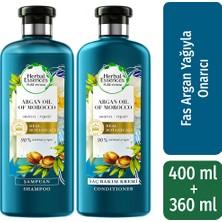 Herbal Essences Şampuan Onarıcı Fas Argan Yağı 400 ml + Saç Bakım Kremi 360 ml