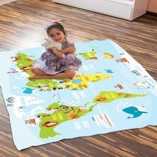Kiparis Dünya Haritası Desenli Polar Battaniye Çocuk Battaniye