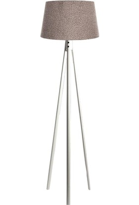 Ağaç Ustası Oval 3 Ayak Tripod Lambader Abajur Köşe Lambası Ahşap Beyaz