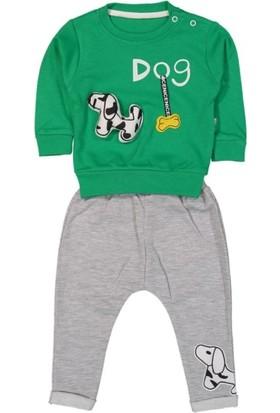 Tox (2 Parça) Dog Baskılı Yeşil Erkek 2li Bebek Takım (9 12 18 Ay)