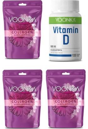 Voonka Collagen Beauty Gummies 30 Çiğnenebilir Tablet X3 Adet +D Vitamini Takviyesi 102 Kapsül