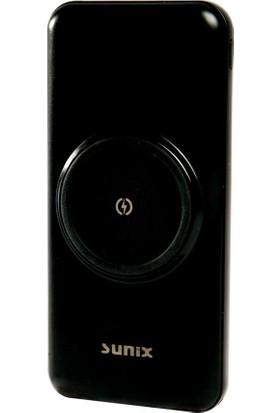 Sunix PB16 Micro, Ios Lightning, Type-C Çıkışlı Kablosuz Şarj Pedli Powerbank 14000MAH Siyah