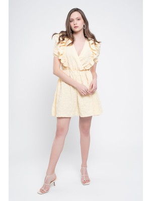 Quzu Kruvaze Balon Kol Mini Elbise Sarı