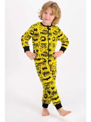 Batman Lisanslı Sarı Erkek Çocuk Polar Tulum
