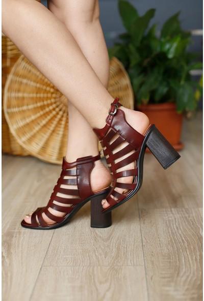 Ventes Kadın Bordo Deri Topuklu Ayakkabı