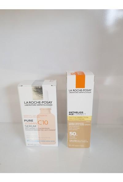 La Roche-Posay Pure Vıtamın C10 Serum 30 ml + Anthelıos Age Correct Tınted 50 ml