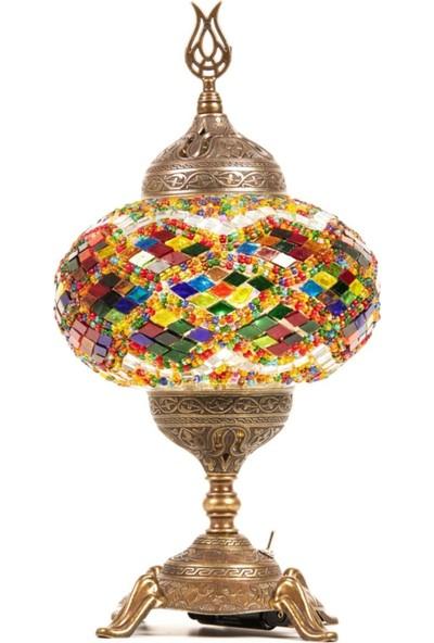 Lagabya Pilli Mozaik Renkli Camlı Otantik Masaüstü Lamba Abajur Masa Gece Lambası