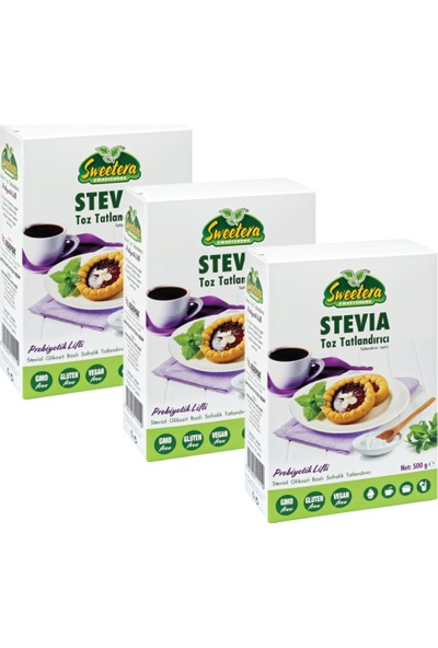 Sweetera Stevia Prebiyotik Lifli Tatlandırıcı Toz 500 gr 3'lü+ El Temizleme Mendili