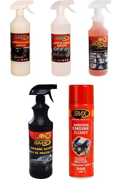 Smx 5'li Araç Bakım Seti(Tampon Lastik Parlatıcı-Torpido Plastik Parlatıcı-Seramik Hızlı Oto Cila-Genel Amaçlı Temizleyici-Susuz Motor Temizleme Spreyi))