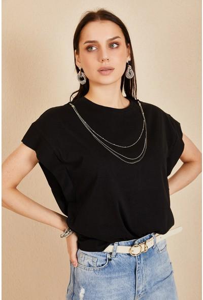 Morpile Zincir Detaylı Kısa Kol Basic Tshirt
