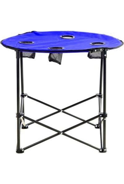 Byeren Yuvarlak Katlanır Kamp Masası Mavi - Çantalı