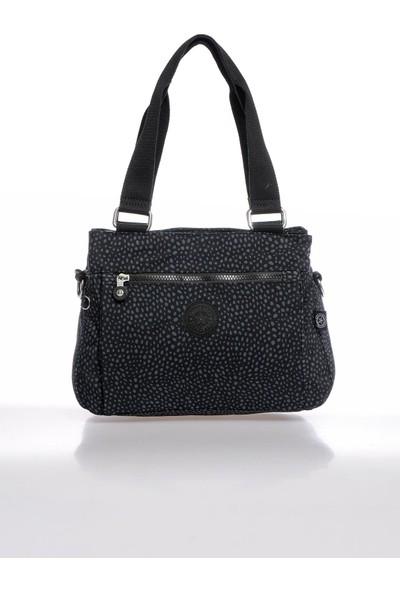 Smart Bags SMBKY1125-0091 Puanlı Siyah Kadın Omuz Çantası
