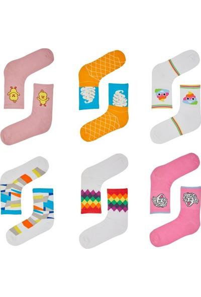 Çorapmanya Kadın 6 Çift Dikişsiz Renkli Desenli Soket Kolej Tenis Çorabı