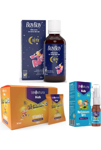 Baybay Çocuklar Için Vitamin Seti Night Da mla 50 ml + Venatura B12 Vitamini 5 ml + C Vitamini 30 Saşe