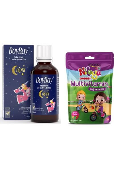 Baybay Da mla Night Melisa Içeren Takviye Edici Gıda 50 ml + Voonka Niloya Multivitamin 60 Çiğneme Tableti