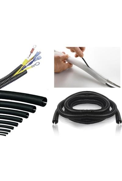 Zembil Siyah Renk Kablo Tesisat Gizleme Düzenleme Spiral Yarıklı Hortum 24MM 1 Metre