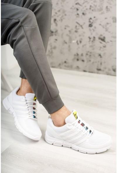 Prestij Venro Beyaz Beyaz Taban Yazı Detaylı Erkek Spor Ayakkabı